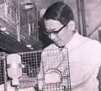 動物実験中の豊川教授